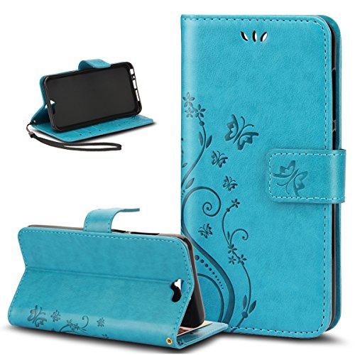 HTC Uno A9caso, ikasus, diseño de mariposa piel sintética plegable tipo cartera, funda de piel tipo cartera con función atril tarjeta de Crédito ID Holders funda para HTC One A9