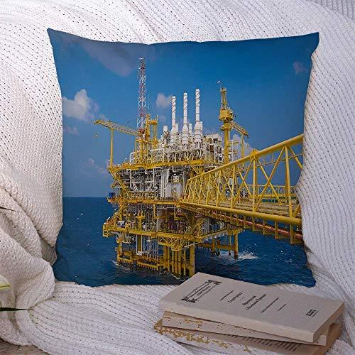 N\A Fundas de Almohada Decorativas para sofá Cama Sofá Nube Industria de Gas y petróleo Ocupación en Alta mar Golfo Tailandia Finanzas Compresor de Color Industrial Azul Funda de cojín Suave