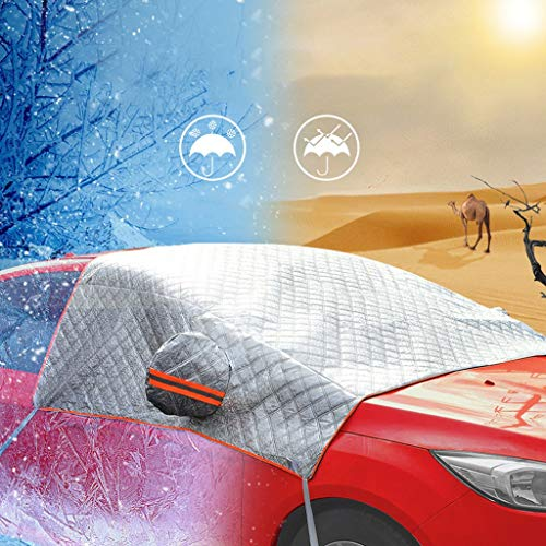 Huhu833 Dicker Windschutzscheibe Abdeckung Frontscheibenabdeckung Auto Winterabdeckung Frostschutz Eisschutz - Frontscheibe Abdeckung Sonnenschutz Schneeschutz (Weiß)