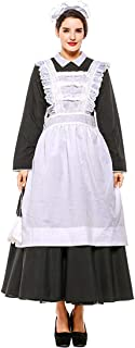 Womens Plus Size Pilgrim Dress Victorian Maid Costume Colonial Cosplay with Apron