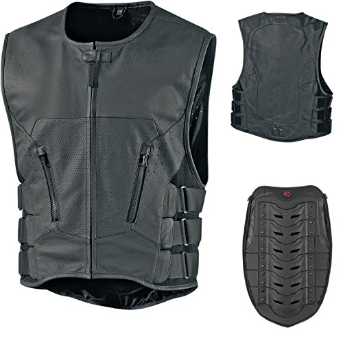 ICON REGULATOR STRIPPED VEST LEDER WESTE MOTORRAD CHOPPER CUSTOM HARLEY S M L XL 2XL 3XL 4XL (L/XL)