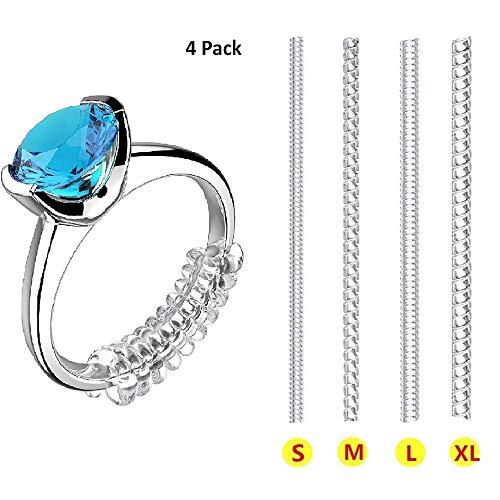 Regolatore di misura per anelli larghi, invisibile, per qualsiasi anello, 12 pezzi, include 4 misure
