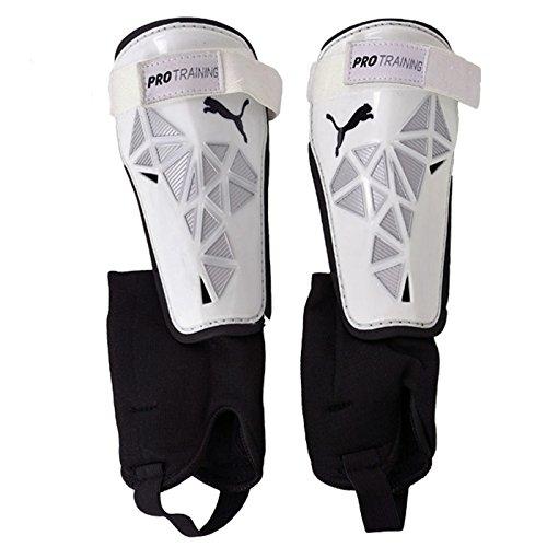 PUMA - Parastinchi PRO Training con Protezione per la Caviglia, Bianco (White-Metallic Silver-Black), L