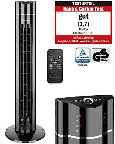 DUNLOP XL Turmventilator 107cm, Luftreiniger, Schwenkfunktion Standventilator 60W leise, Turmlüfter oszillierend, Tower Fan 3 Geschwindigkeitsstufen, Säulenventilator mit Timer und Fernbedienung