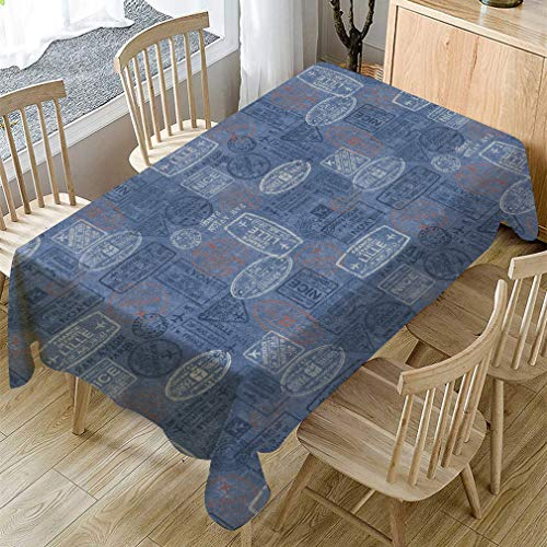Tafelkleed Retro brievenbus Blauw huishoudelijk spatwaterdicht en wasbaar tafelkleed (rechthoekig, 55 x 78 inch)