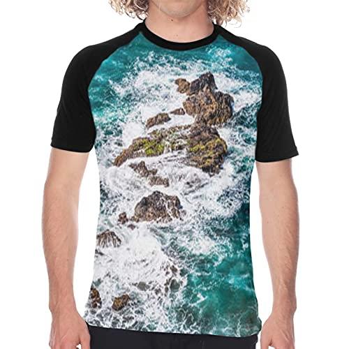 Camiseta de Manga Corta para Hombre,Piedras en Las Olas del océano en la Orilla del océano Atlántico en Tenerife, Islas Canarias,Divertidas Imprimir gráfica con Cuello Redondo y diseño Creativo S