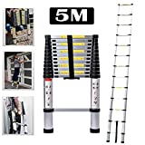 16.4ft 5M Aluminum Extension Foldable Telescopic Ladder Telescoping Straight Ladder Extendable Capacity Max Load 150kg/330lb EN 131 Light-Weight Fully Extened 5M