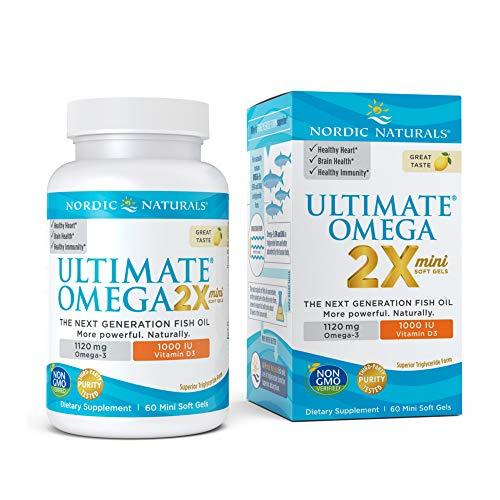 Nordic Naturals Ultimate Omega 2X Mini Con Vitamina D3, 1120 Mg De Limón - 60 Cápsulas Blandas 60 Unidades 100 g