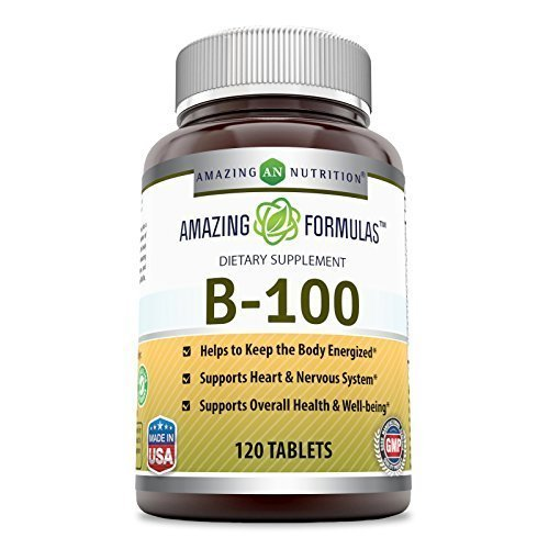 Amazing Nutrition B-100 Dietary Supplement * 120 Tablets Per Bottle * Vitamin B Complex with 100mg of All B Vitamins * Thiamin, Riboflavin, Niacin, B6, Folic Acid, B12, Biotin & Pantothenic Acid