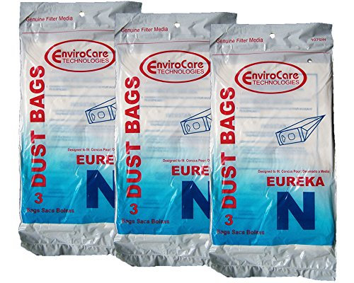 9 Eureka Mighty Mite Allergy Vacuum Style N Bags, Canister Vacuum Cleaners, 57988, 57988A, 57988-12, 57989, 57989-12, (Filteraire), 54920-10, 3600 through 3650 series