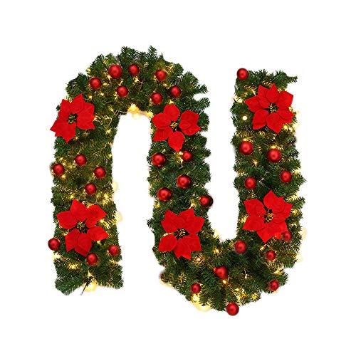 2.7M Weihnachtsbaum Rattandekoration mit LED Lichterkette batteriebetrieben, Dapei Warmweiß Lichterkette mit Rot Blume für Weihnachten Party Innen und Außen Deko