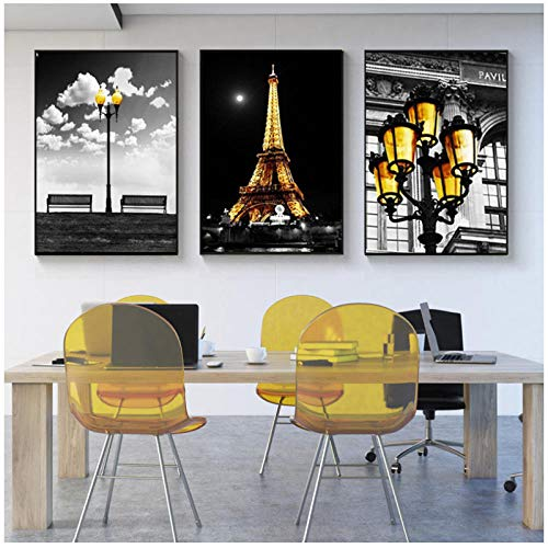 wymhzp Canvas Wall Art Painting 3 Piece Night Paris Tower Modern Picture Nordic City Landscape Chair Street Lamp Poster Room Home Decor 50x70cm Unframed