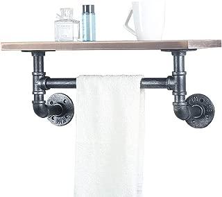 Industrial Pipe Shelf Bathroom Shelves Wall Mounted,19.6in Rustic Wood Shelf With Towel Bar,1 Tier Black Farmhouse Towel Rack Over Toilet,Pipe Shelving Metal Floating Shelves Iron Towel Holder