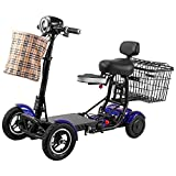 Folding Mobility Scooters, Electric Lightweight Powered Mobile Wheelchairs Portable Collabsible Compact 4 Wheel Scooter with Seat for Adults Elderly Disabled Outdoor Travel