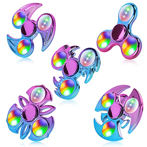 FIGROL Fidget Spinner 5 Pack, LED Light Up Metal-Looking Spinners Fidget Hand Spinners - Reducing Boredom ADHD, Anxiety for Kids