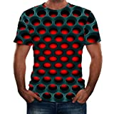 GDJGTA T-Shirt for Mens 3D Printing Round Neck Short Sleeve Shirt Top Blouse (Wc Black Blouse, Medium)