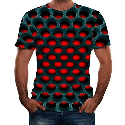 Fenverk T-Shirt Herren 3D Druck Rundhals Kurzarm Shirt Lässig Lustig T Shirt Sommer Top Weich Bequem Oberteil Kleidung Bluse Mode Streetwear(B#Schwarz,L)
