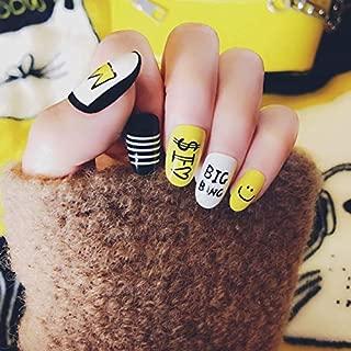 24pcs/Pack Cute Multicolor French False Nails Nail Art Yellow Funny Design Nail Tips
