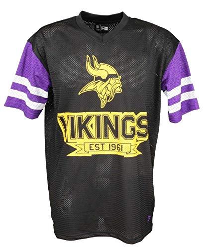 New Era NFL Camiseta de fútbol americano, diseño de New England Patriots, Seahawks, Steelers, Packers, Raiders, Cowboys, Cardinals, Eagles, Giants, Falcons, Vikings-Contrast-Black, xx-large