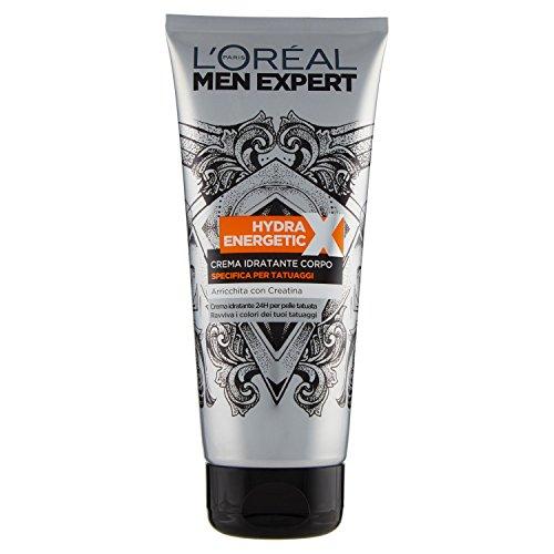 L'Oréal Paris Men Expert Crema Corpo Uomo Hydra Energetic X Crema Specifica per Tatuaggi, 200 ml