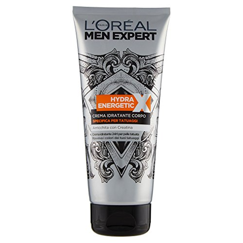 L'Oréal Paris Men Expert Crema Corpo Uomo Hydra Energetic X Crema Specifica per Tatuaggi, 200 ml