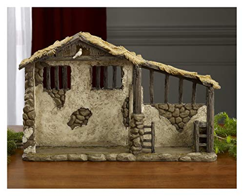 Three Kings Gifts Lighted Stable for Real Life Nativity, 15-Inch by 9 5/8-Inch by 4 1/4-Inch