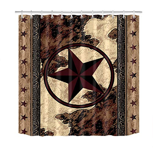 LB Rustic Texas Star Western Shower Curtains,Vintage Wood Barn Door Farmhouse Shower Curtains for Bathroom Waterproof Fabric 59x72 Inch with Hooks