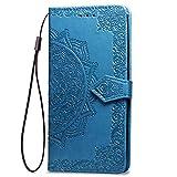 LAGUI Funda Adecuada para Xiaomi Mi 8 Lite, Relieve Dibujo Carcasa de Tipo Libro, Azul
