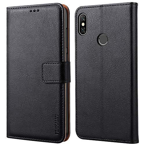 Peakally Xiaomi Redmi Note 6 Pro Hülle, Premium Leder Tasche Flip Wallet Hülle [Standfunktion] [Kartenfächern] PU-Leder Schutzhülle Brieftasche Handyhülle für Xiaomi Redmi Note 6 Pro -Schwarz