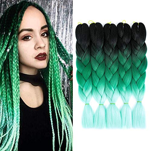 5 Stück Jumbo Braids Hair Kanekalon Kunsthaar zum Flechten von Haarverlängerungen Crochet Braids 24inch Jumbo Braiding Hair (5Pcs, Black green light green)
