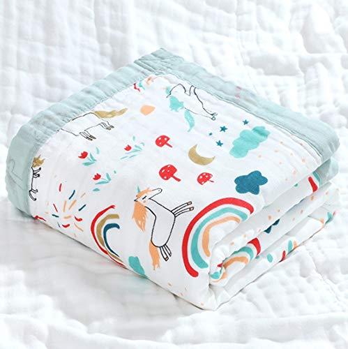 Mentalism Toalla de baño para bebé con diseño de caballo arcoíris, gasa de algodón de alta densidad, seis capas, dibujos animados, multicolor, ancha, con dobladillo, tamaño 110 x 110 cm, 2 unidades