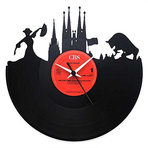 España Barcelona, regalo especial, reloj de vinilo negro, Vinyluse original, recuerdos de viaje