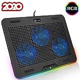KLIM Aurora + Laptop-RGB-Kühler- 11 bis 17 Zoll + Laptop-Gaming-Kühlung + USB-Lüfter + Stabil und leise + Mac- und PS4-kompatibel + Neuheit 2020