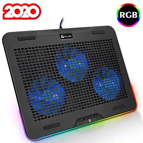 """KLIM™ Aurora - Base de refrigeración para portátiles RGB - 11"""" a 17"""" + Refrigeración para portátil Gaming + Ventilador USB + Estable y Resistente Base de Aluminio + Gran compatibilidad + Nueva 2020"""