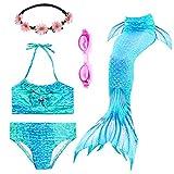 PTHTECHUS 3PCS Conjunto de Bikini de Sirena niñas Traje de Baño de la Cola con Guirnalda y Gafas de natación (140(8-10Y), GH06-Blue)