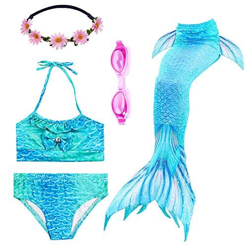 PTHTECHUS Mädchen Badeanzüge Meerjungfrauenschwanz Zum Schwimmen Bikini Kostüm Bademode mit Kopf Garland und Taucherbrille Schwimmbrille (120(4-6Y), GH06-Blue)