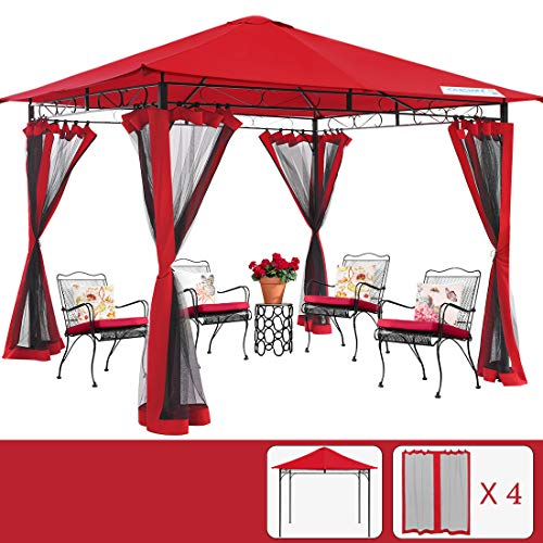 Quictent 10x10 ft Gazebo with Mosquito Netting Soft top Screened Metal Gazebo Canopy Heavy Duty and Waterproof for Patios, Deck and Backyard (Red)
