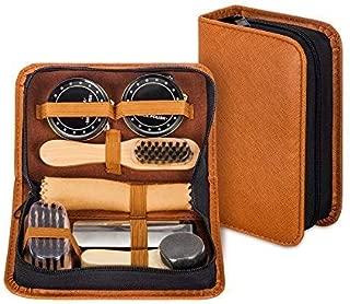 Shoe Shine Kit with PU Leather Sleek Elegant Case, Travel Shoe Shine Brush kit