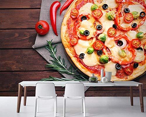 ZDBWJJ Fast-Food-Pizza tomaten peper eten behang fast-food-winkel woonkamer keuken restaurant café wandplaat 300 cm x 210 cm.