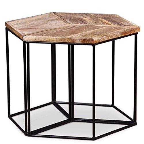 Lingjiushopping Table de Centre de Bois de Mango Massif 48 x 48 x 40 cm brossé et laqué Material : Table en Bois de Mango Massif avec Finition Mate + Structure de Fer