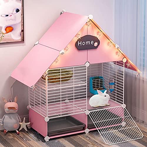 Nynelly - Jaula para conejos con 2 bandejas deslizantes profundas y protección contra la orina, gran jaula para cobayas con malla metálica, 72 x 37 x 89 cm