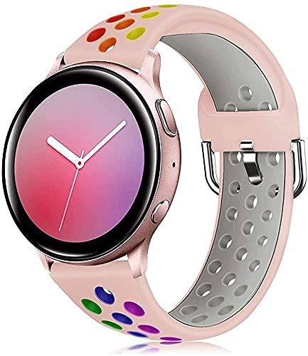 Shieranlee 20mm Bandas Deportivas para Samsung Galaxy Watch 3 de 41 mm, 20 mm Correa Transpirable de Repuesto para Galaxy Active/Active 2, 40 mm, 44 mm, Popglory Smartwatch Correa