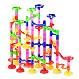 Gifts2U Marble Run Toy, 130Pcs Educational Construction Maze Block Toy Set with Glass Marbles for Kids and Parent-Child Game Tiny Version