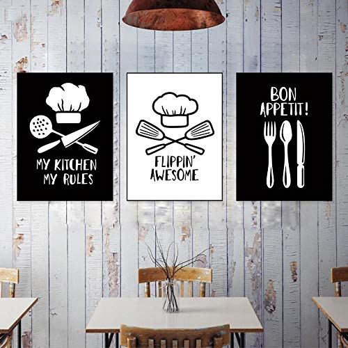 HUANGXLL Tableware Chef Hat Knife Nordic Kitchen Posters and Prints Wall Art Canvas Painting Pictures Modern Home Decoration-40x50cmx3pcs-No Frame