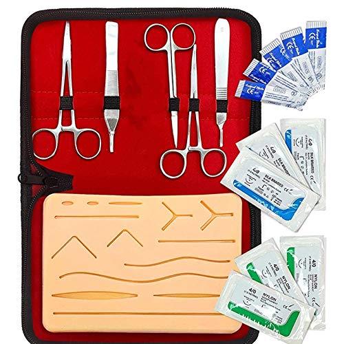 AOXING Kit Di Pratica Della Sutura Da 21 Pezzi Per Studenti Di Medicina, Kit Completo, Include Kit Di Strumenti Durevoli E Fili Di Sutura, Kit Di Strumenti Per Pad Di Addestramento in Silicone Medico