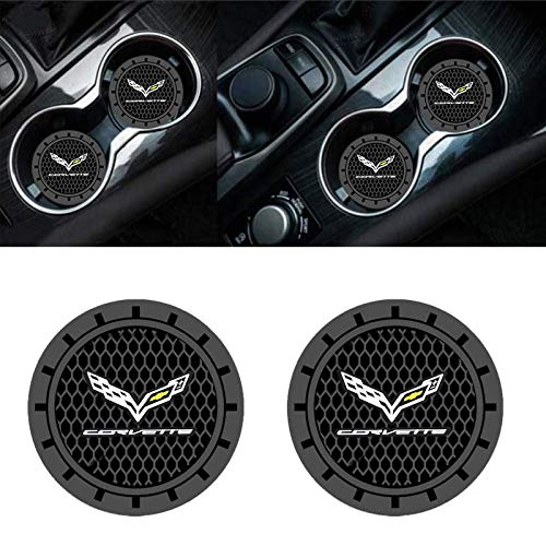 HAIGEZS 2 Pcs 2.75 Inch Car Logo Vehicle Auto Cup Holder Insert Coaster for Corvette C1 C2 C3 C4 C5 C6 C7 C8 Racing 1LT 2LT 3LT Stingray Series,Silicone Anti Slip Cup Mat,Business Gift