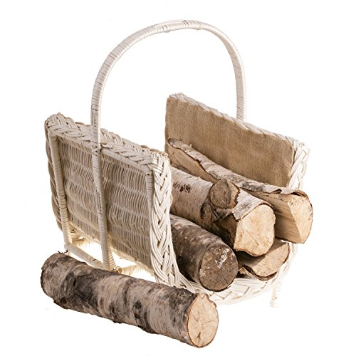 Panier de cheminée en osier beige avec housse en jute