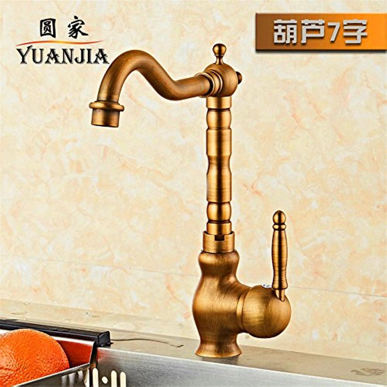 Küchenarmatur Wasserhahn Küche Mit Herausziehbarer Dual-Spülbrause European Style Copper Antique Kitchen Faucet Hot And Cold Retro American Sink Basin Rotating Single Handle Sink Faucet C