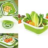 Hamkaw - Tabla de cortar plegable con plato de carga para lavabo, portátil, multifunción, con tapón de drenaje para cocina al aire libre, viaje, camping, verde