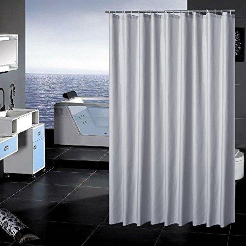 Uniuooi Silbergrauer Duschvorhang für Badezimmer, wasserdicht, schimmelresistent, maschinenwaschbar, 100 prozent Polyestergewebe, 180 x 200 cm, mit 12 Kunststoffhaken (Silbergrau)